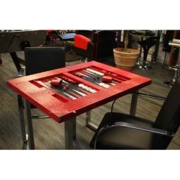 table-de-backgammon-cuir-crocodile-rouge
